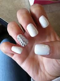 white nails with rhinestones best nail designs 2018