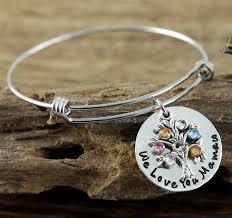 personalized bangle bracelets personalized family birthstone tree bangle bracelet gold or