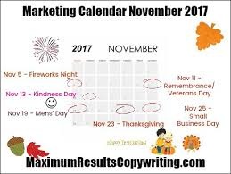 looking ahead marketing calendar november 2017 maximum