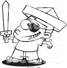vector cartoon pirate boy newspaper hat sword
