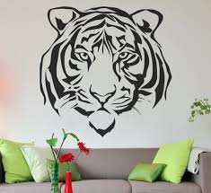 this large tiger face vinyl wall decal will be sure to make a