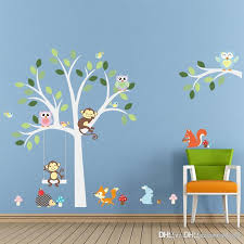 White Tree Wall Decal For Nursery 2018 Wise Fox Squirrel Monkey Owls On White Tree Wall Stickers For