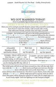 program for wedding reception sle wedding reception program ceremony wedding