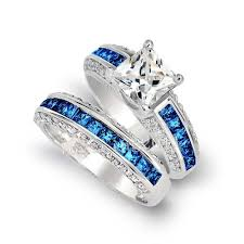 tanzanite blue rings images Luxury jewelry wholesale 10kt white gold filled princess cut blue jpg