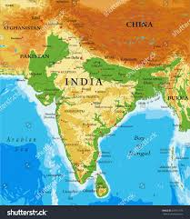 Relief Map Indiarelief Map Stock Vector 607051973 Shutterstock