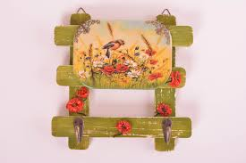 madeheart u003e wooden wall hanger decoupage key holder wall decor