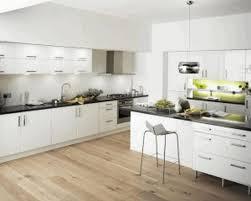 Bright White Kitchen Cabinets Light Brown Wooden Flooring Sleek White Wooden Kitchen Counter