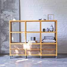 Recycled Wood by Office Atelier Orange Metal And Recycled Wood Bookcase