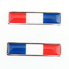Blue White And Red Flags 1 Pair French Flag Logo Emblem Stainless Steel Car Auto 3m 3d Door