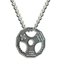 necklace steel images Dumbbell pendant necklace stainless steel chain weight plate jpg