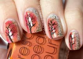 diy fall leaves on gold nails easy autumn nail art design easy