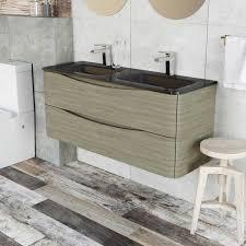 Floor Mounted Vanity Units Bathroom Erin Wall Mounted 1200 Double Vanity Unit Grey Elm U0026 Grey Glass