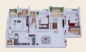Three Bedroom Townhouse 25 More 3 Bedroom 3d Floor Plans