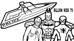 spiderman and batman and flash with police boat coloring book