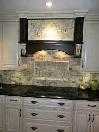 white glass tile backsplash kitchen custom vent hood travertine backsplash white cabinets gray