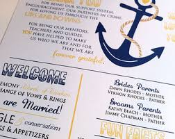 wedding programs sle navy yellow program etsy