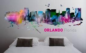 orlando florida skyline watercolor wall decor moonwallstickers