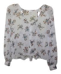 bird blouse white bohemian bird and floral chiffon blouse size 4 s