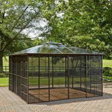 hardtop patio gazebo square 12 u0027 x 12 u0027 hardtop gazebo with screen doors search 12x12