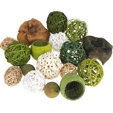 Decorative Fillers For Bowls Decorative Wicker Balls Bowl Filler Assorted Green 16 Piece