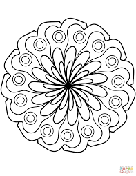 mandala with simple flower ornament coloring page free printable