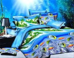 beach themed duvet cover sets blue sea fish bedding set 3d style