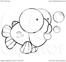 cartoon clipart of a black and white big eyed goldfish vector