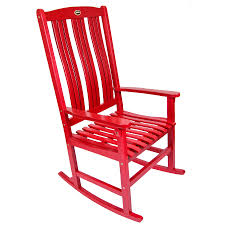 Wooden Rocking Chair Outdoor Shop Red Wood Slat Seat Outdoor Rocking Chair At Lowes Com