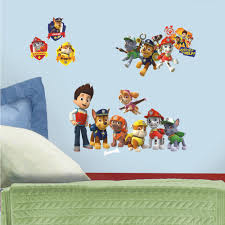 Wall Decals For Boys Room Paw Patrol Peel And Stick Wall Decals Walmart Com