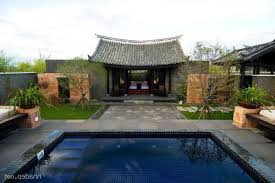 chinese architecture house design with large swimming pool exotic