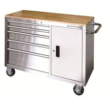 Husky  In Drawer And Door Stainless Steel Mobile Workbench - Stainless steel cabinet doors canada