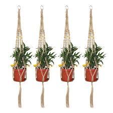 ljy 4 pieces 2 9ft 90cm macrame plant hangers bracket wall hanging