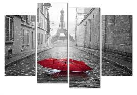 Paris Home Decor Accessories Modern Home And Office Wall Decor 4 Panels Canvas Prints Paris