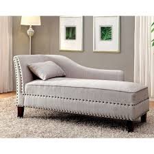 Upholstered Chaise Lounge Furniture Of America Gillian Nailhead Trim Linen Like