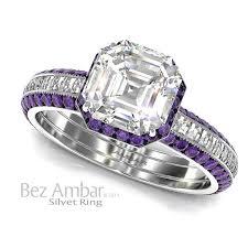amethyst wedding rings silvet amethyst engagement ring set asscher cut