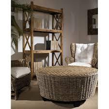 hotel caribe round ottoman coffee table gray kubu wicker dcg