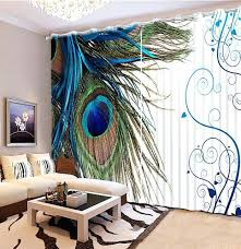 Peacock Blue Sheer Curtains Peacock Curtains Photo Customize Size Bedroom Blackout Curtains
