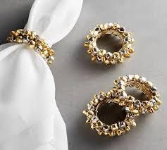 rings bells images Mini sleigh bells gold napkin rings set of 4 pottery barn jpg