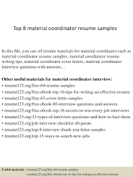 the best resume exles top8materialcoordinatorresumesles 150404034042 conversion gate01 thumbnail 4 jpg cb 1428136886