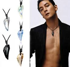 men crystal necklace images Hot sailing wolf tooth austria big crystal with swa element wolf jpg