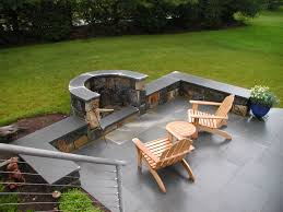 Oriflamme Sahara Fire Table by Back Yard Patio With Round Stone Gas Fire Pit Table Plus Black