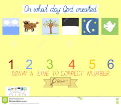 task for children how to place days of creation book of genesis