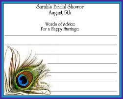 bridal shower words of wisdom peacock design bridal shower advice cards