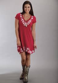 stetson red embroidered cap sleeve handkerchief hem western dress