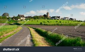 beutiful typical french village countryside normandy stock photo
