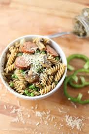 sausage mushroom pesto pasta eazy peazy mealz