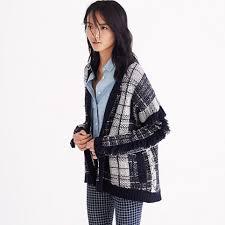 plaid sweater plaid fringe cardigan sweater cardigans sweater jackets madewell