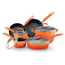 Orange Kettle And Toaster Rachael Ray Hard Enamel Nonstick 10 Piece Cookware Set Orange