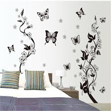 Xcm Black Butterfly Flower Tree Wall Stickers For Kids Rooms - Butterfly kids room