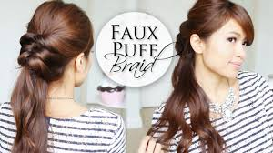 How To Make Hairstyles For Girls by Easy 5 Min Hairstyle Faux Puff Braid Youtube